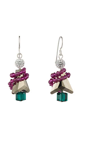Jewelry Design Christmas Tree Earrings with Swarovski® Crystalsand Beads