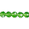 Bead, Celestial Crystal®, glass, 48-facet, green, 10mm faceted round. Sold per 16-inch strand.