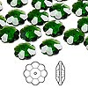 Bead, Swarovski® crystals, Crystal Passions®, dark moss green, 10x3.5mm faceted marguerite lochrose flower (3700). Sold per pkg of 12.