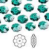 Bead, Swarovski® crystals, Crystal Passions®, emerald, 10x3.5mm faceted marguerite lochrose flower (3700). Sold per pkg of 12.