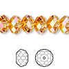 Bead, Swarovski® crystals, crystal astral pink, 12x8mm faceted rondelle (5040). Sold per pkg of 144 (1 gross).