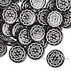 Bead, acrylic, black and silver, 18mm double-sided flat round with flower design, 2mm hole. Sold per pkg of 50.