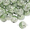 Bead, acrylic, green and silver, 11mm round with line design, 2mm hole. Sold per pkg of 100. Minimum 6 per order.