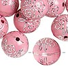 Bead, acrylic, pink and silver, 18mm round with flower design, 2.5mm hole. Sold per pkg of 24.