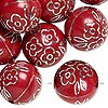 Bead, acrylic, red and silver, 18mm round with flower design, 2.5mm hole. Sold per pkg of 24.