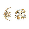 Bead cap, gold-plated brass, 15x10mm leaf, fits 15-18mm bead. Sold per pkg. of 100.