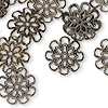 Bead cap, gunmetal-finished brass, 17x4.5mm flower with cutout design, fits 20-24mm bead. Sold per pkg of 20.