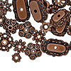 "Bead cap mix, antiqued copper-finished ""pewter"" (zinc-based alloy), 6x2mm-18x6mm mixed shapes. Sold per pkg of 50."