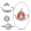 Bead cap, sterling silver, 24x11mm teapot, fits 8-10mm bead. Sold per 2-piece set.