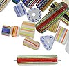 Bead mix, cane glass, mixed colors, 5x4mm-25x4mm mixed shape. Sold per 1-ounce pkg, approximately 25-45 beads. Minimum 8 per order.