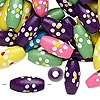 Bead mix, wood, mixed colors, 15x7mm oval with painted flowers. Sold per 90-gram pkg, approximately 420 beads. Minimum 4 per order.