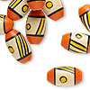 Bead, painted vintage Japanese wood, orange / yellow / black, 18x10mm-19x11mm oval with line and dot design, 3mm hole. Sold per pkg of 24.