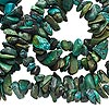 Bead, turquoise (dyed / waxed), blue, small chip, Mohs hardness 5 to 6. Sold per 34-inch strand.