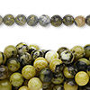 "Bead, yellow ""turquoise"" (natural), 6mm round, C grade, Mohs hardness 2-1/2 to 6. Sold per pkg of (10) 16-inch strands."