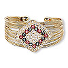 "Bracelet, cuff, glass / Egyptian glass rhinestone / gold-finished steel / ""pewter"" (zinc-based alloy), clear / red / black, 35mm wide with 40x35mm diamond, adjustable. Sold individually."