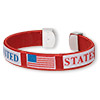 "Bracelet, cuff, plastic and nylon, red / white / blue, 12mm wide with ""UNITED STATES"" and flag design, adjustable. Sold individually."