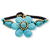 Bracelet, magnesite (dyed / stabilized) / waxed cotton cord / brass / brass-finished steel, black and blue, 40mm wide with flower and bells, 7-1/4 inches with button clasp. Sold individually.