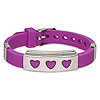 Bracelet, silicone and stainless steel, fuchsia, 16mm wide with 39x16mm rectangle and heart cutouts, adjustable up to 8 inches with buckle-style closure. Sold individually.