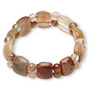 Bracelet, stretch, multi-gemstone (natural), 15mm wide with round and half rondelle, 7 inches, Mohs hardness 3 to 7. Sold individually.