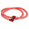 Bracelet, stretch wrap, bamboo coral (dyed) / glass / resin, multicolored, 8x8mm rose, 15 inches. Sold individually.