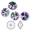 Chaton, Swarovski crystal rhinestone, Crystal Passions®, crystal vitrail light, foil back, 14mm faceted rivoli (1122). Sold per pkg of 4.