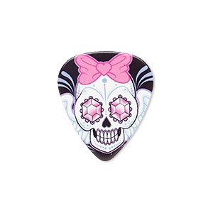 Component, celluloid plastic, multicolored, 30x26mm double-sided guitar pick with skull and wings with jewel eyes and hair bow. Sold per pkg of 2.