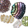 Dichroic glass mixed beads, size/shape/color, approx. 8x8x4-24mm. Pkg of 5.