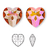 Drop, Swarovski crystal, crystal astral pink, 18x17mm faceted heart pendant (6215). Sold per pkg of 72.