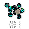 Flat back, Swarovski crystal rhinestone, Crystal Passions®, emerald, foil back, 7.07-7.27mm Xirius rose (2088), SS34. Sold per pkg of 12.