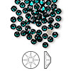 Flat back, Swarovski crystal rhinestone, emerald, foil back, 3.8-4mm Xirius rose (2088), SS16. Sold per pkg of 144 (1 gross).