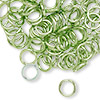 Jumpring, aluminum, green, 8mm smooth round, 16 gauge. Sold per pkg of 100.