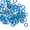 Jumpring, anodized tempered aluminum, blue, 6mm round, 18 gauge. Sold per pkg of 100.