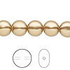 Pearl, Swarovski crystal, bright gold, 10mm coin (5860). Sold per pkg of 10.