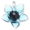 Pendant, Blue Moon Beads®, lampworked glass, translucent aqua blue and opaque black, 56x55mm flower. Sold individually.