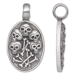 Pendant, antiqued pewter (tin-based alloy), 44x24mm single-sided oval with skulls and bones. Sold individually.