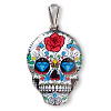 Pendant, resin and silver-finished brass, multicolored, 30x22mm Dia de los Muertos skull with rose and diamond pattern with open bail. Sold individually.