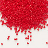 Seed bead, Delica®, glass, opaque dark red, (DB723), #11 round. Sold per pkg of 7.5 grams.