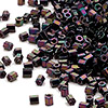 Seed bead, Miyuki, glass, gunmetal purple, (#616), #11 hex 2-cut. Sold per 250-gram pkg.